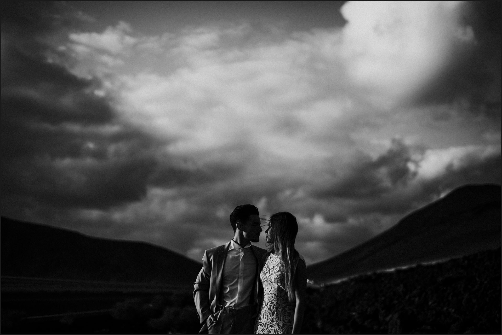 lanzarote, wedding, elopement, bride, groom, vulcan, adventure wedding, black and white