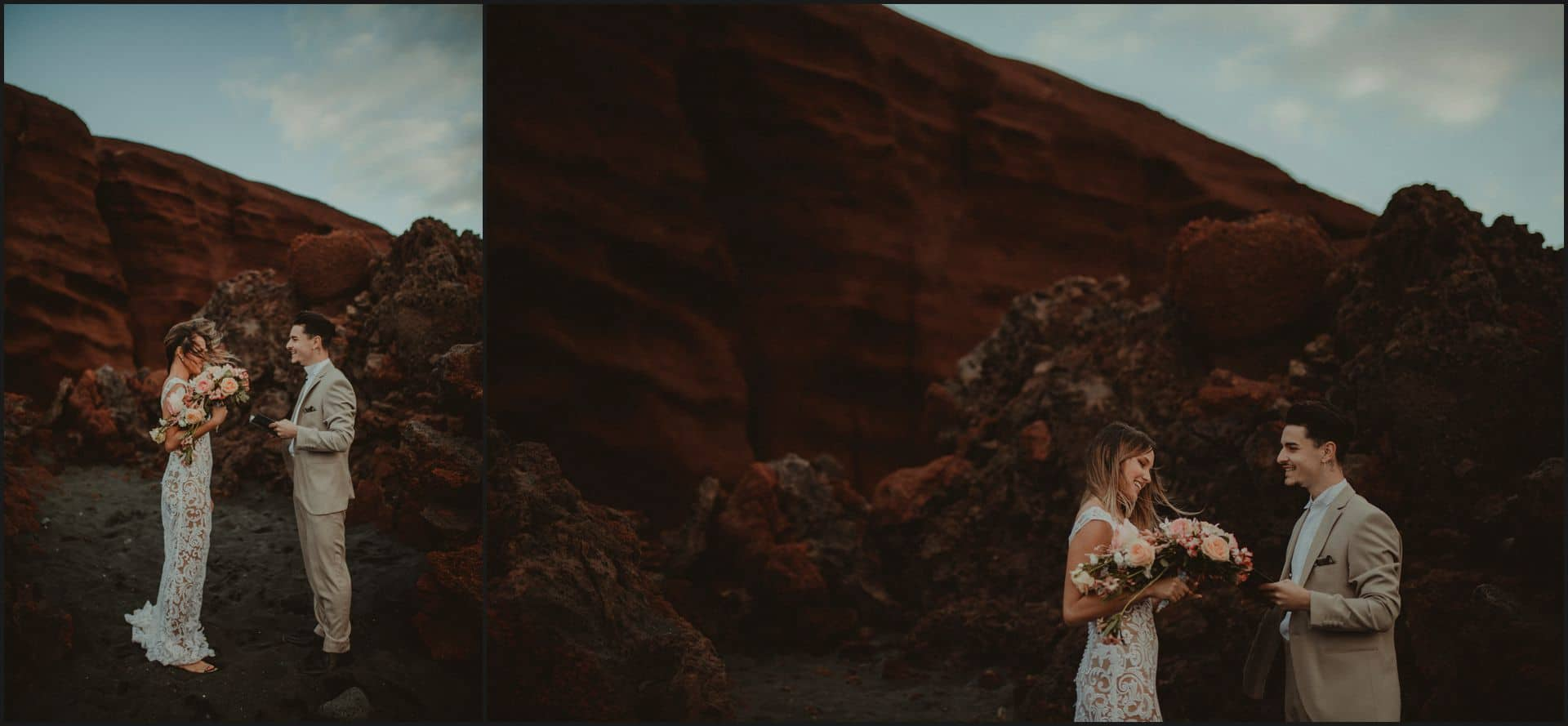 lanzarote, wedding, elopement, bride, groom, adventure wedding, beach wedding, ceremony