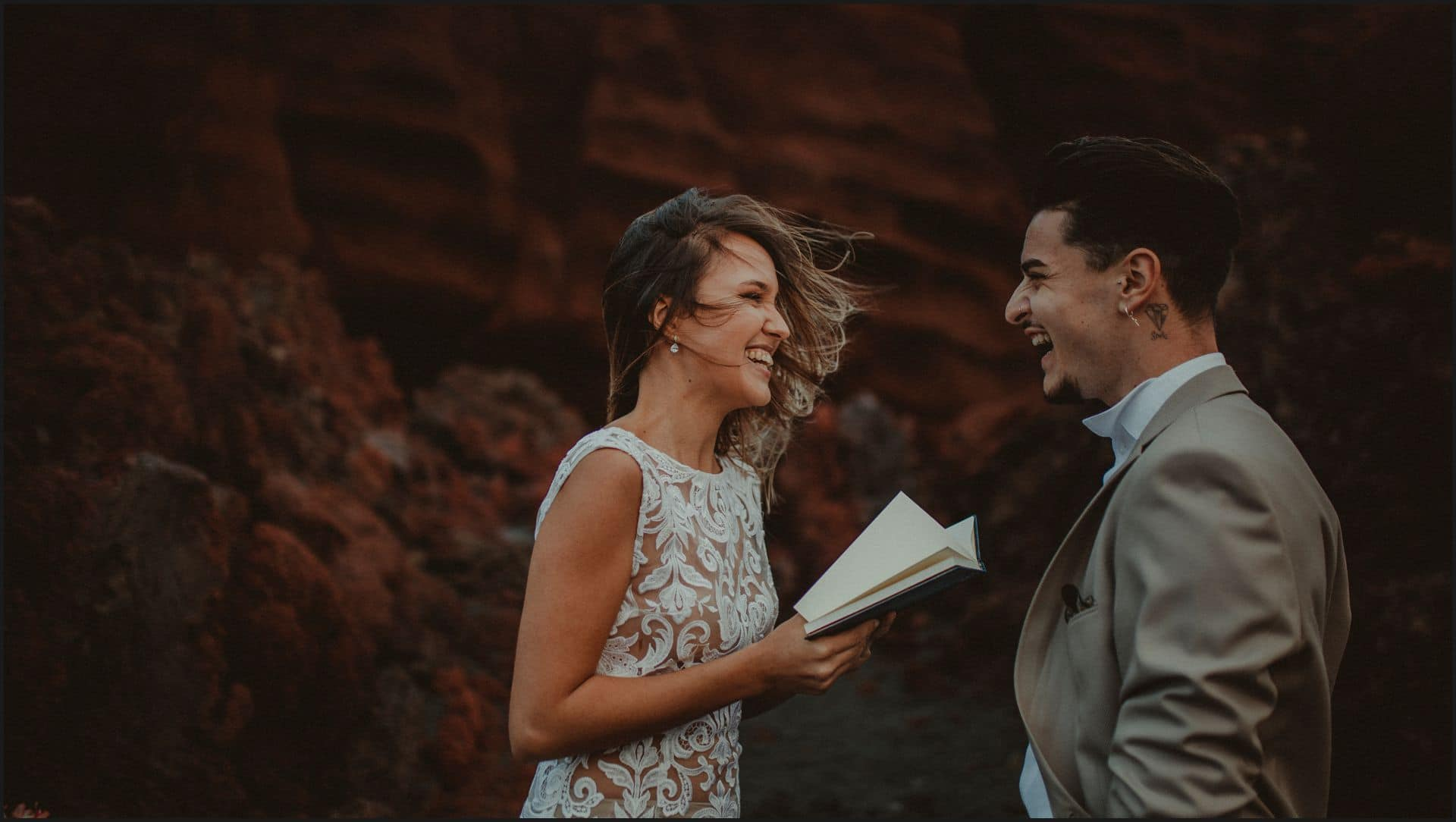 lanzarote, wedding, elopement, bride, groom, adventure wedding, smile, happy