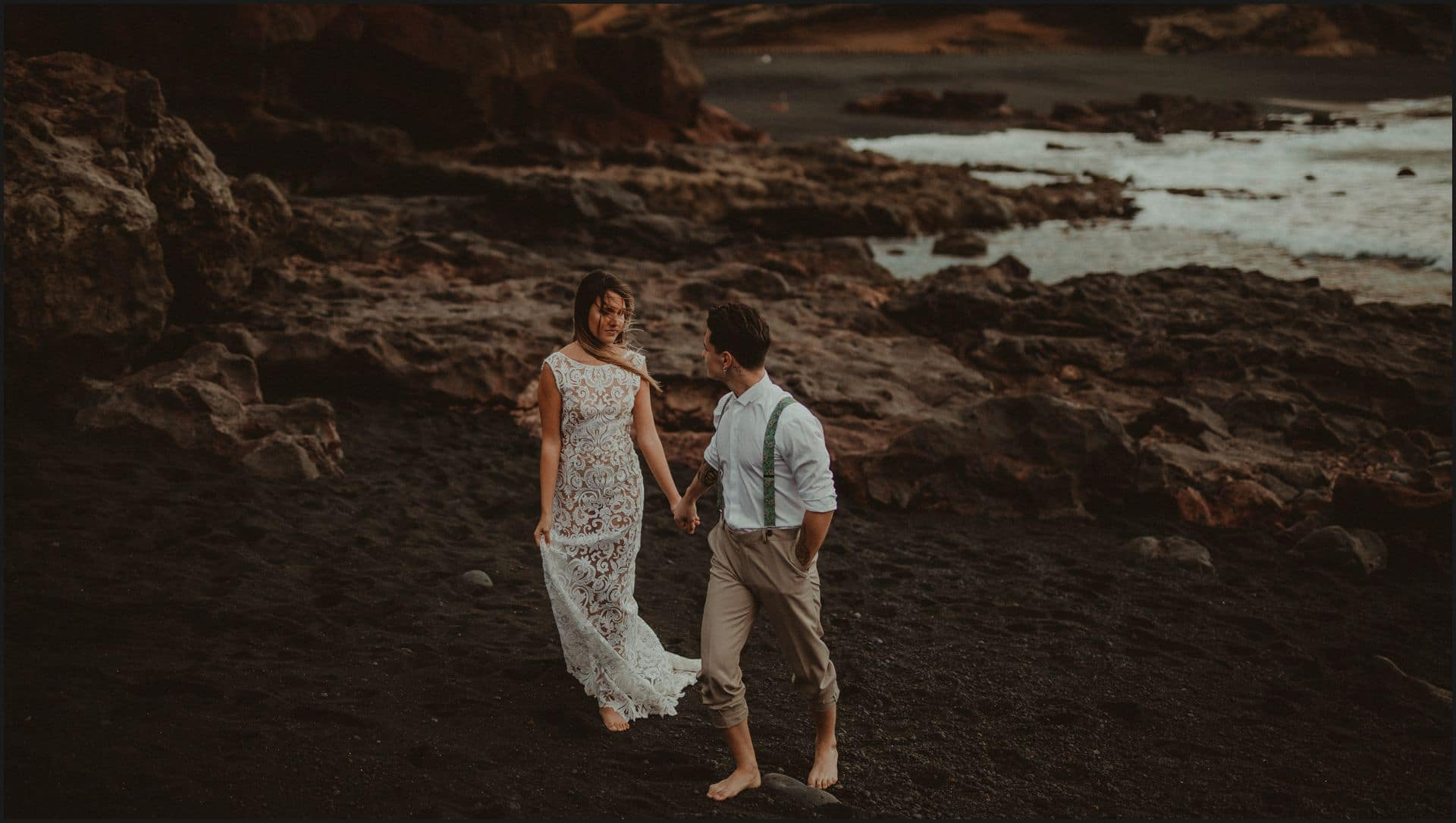 lanzarote, wedding, elopement, bride, groom, adventure wedding, beach, ocean