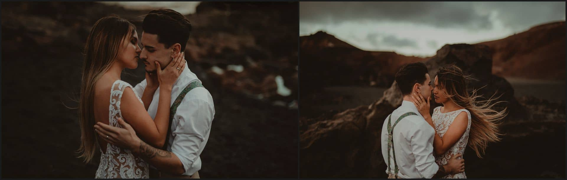 lanzarote, wedding, elopement, bride, groom, adventure wedding, kiss, wind, hair, beach, el golfo