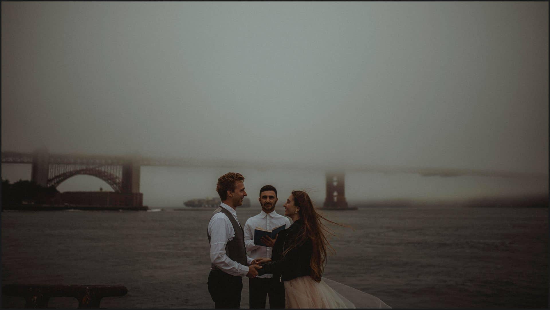 san francisco, california, elopement wedding, ocean, fog, wedding ceremony