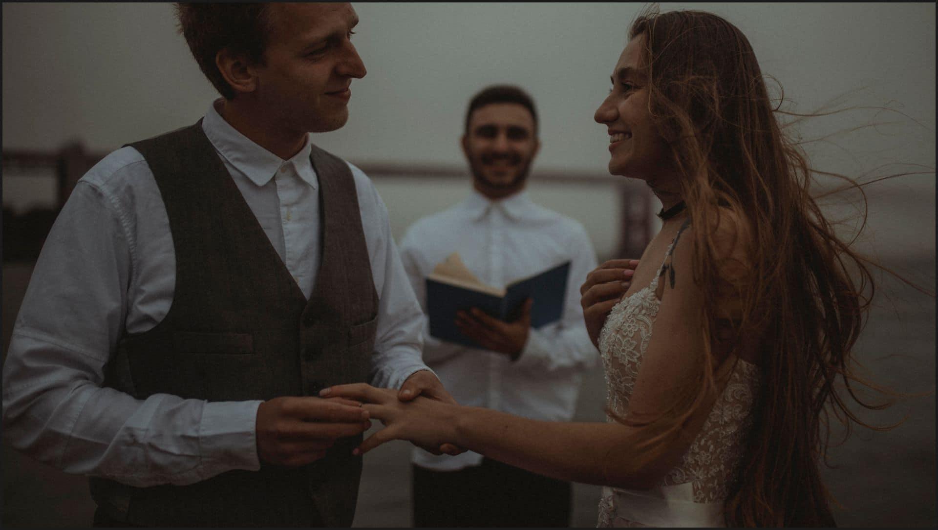 san francisco, california, elopement wedding, wedding ring, symbolic ceremony