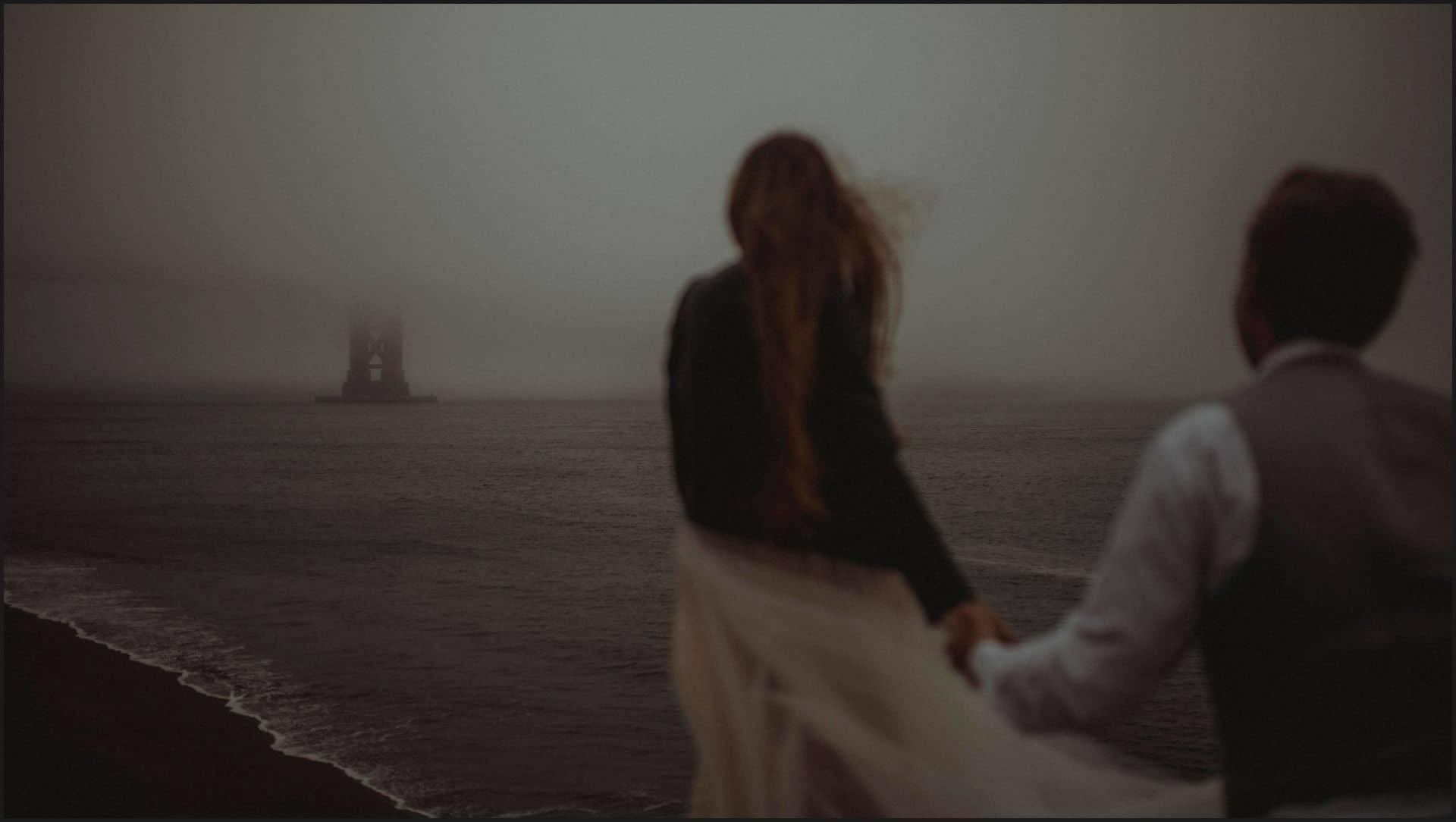 san francisco, california, elopement wedding, golden state bridge, bride, fog