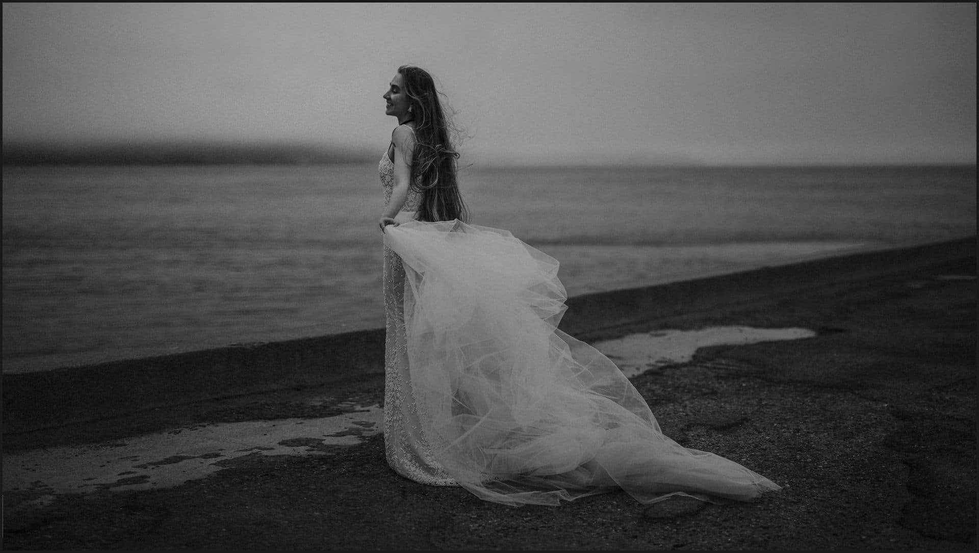 black and white, bride, wedding dress, san francisco, california, elopement wedding