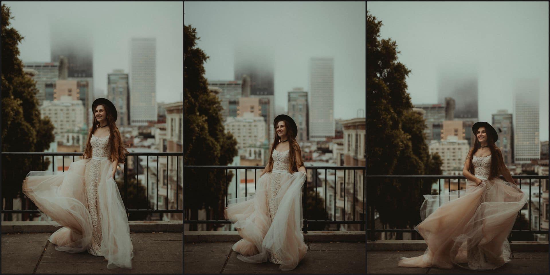 san francisco, california, elopement wedding, bride, hat, dress, lombard street