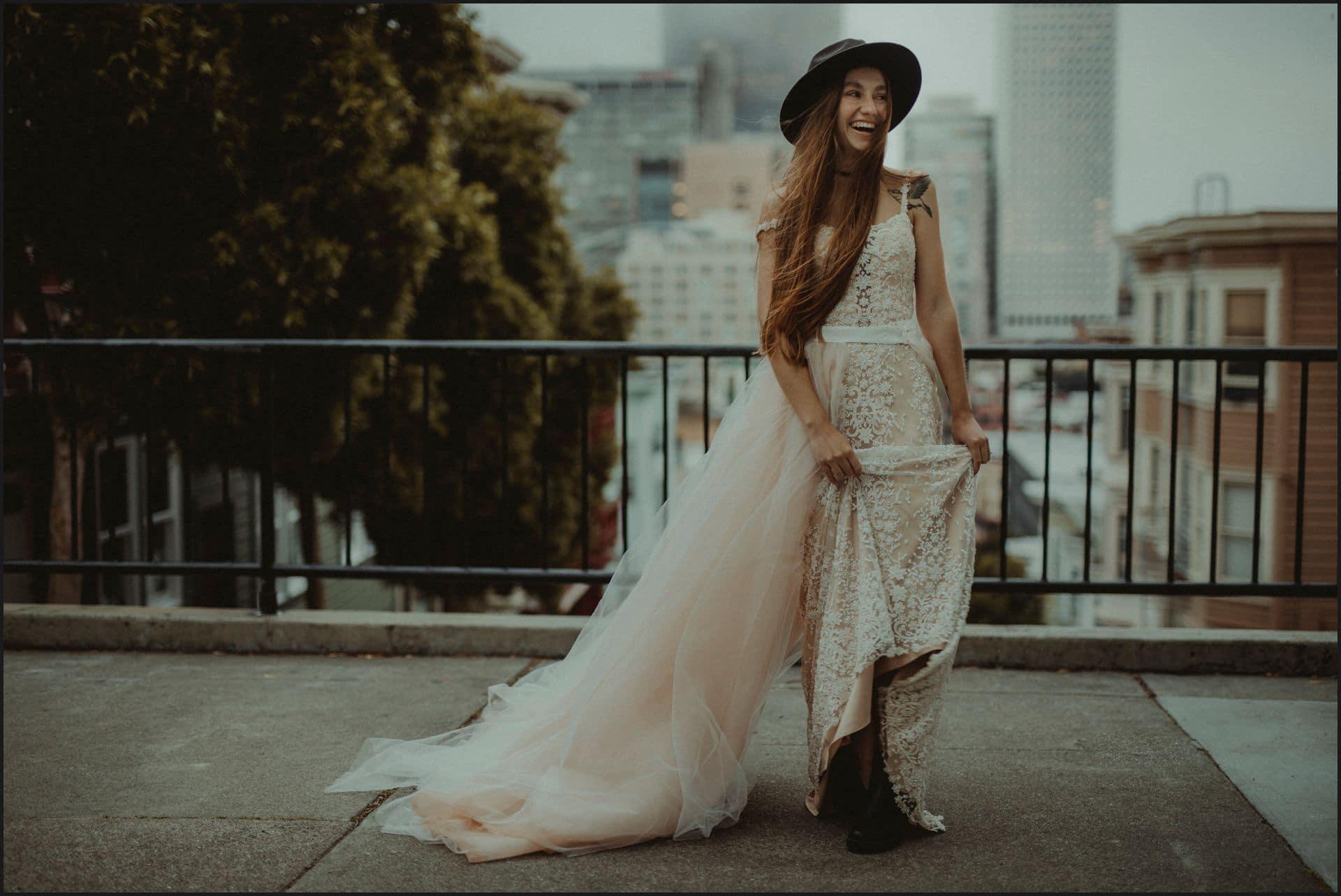san francisco, california, elopement wedding, bride, happy