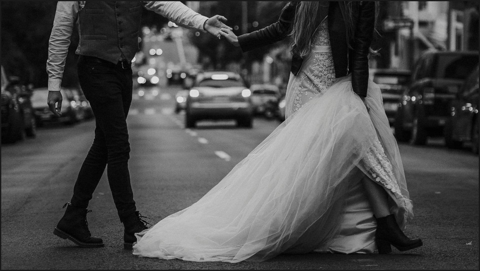 san francisco, california, elopement wedding, black and white, road, bride, groom