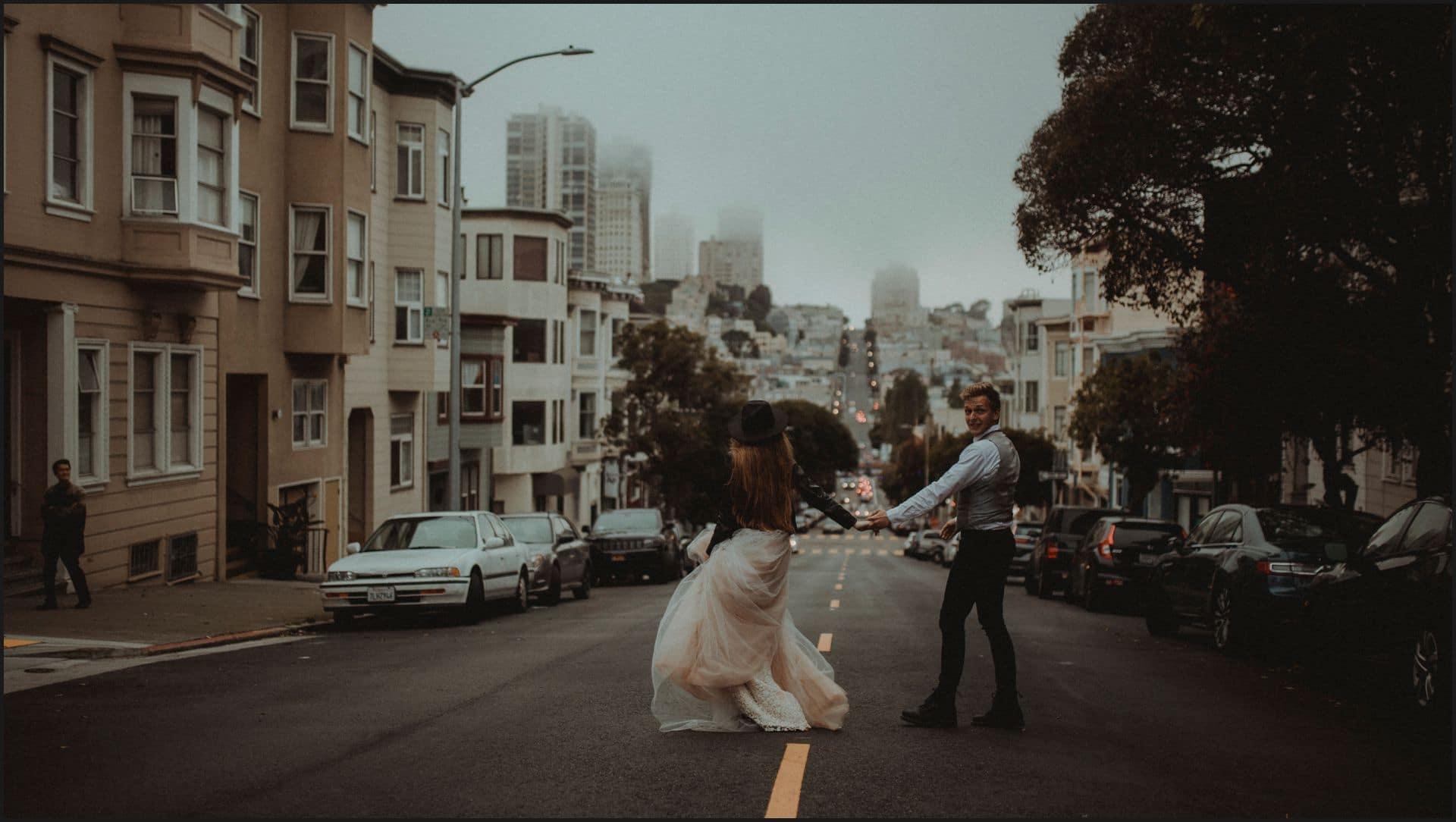 san francisco, california, elopement wedding, bride, groom, road, hand