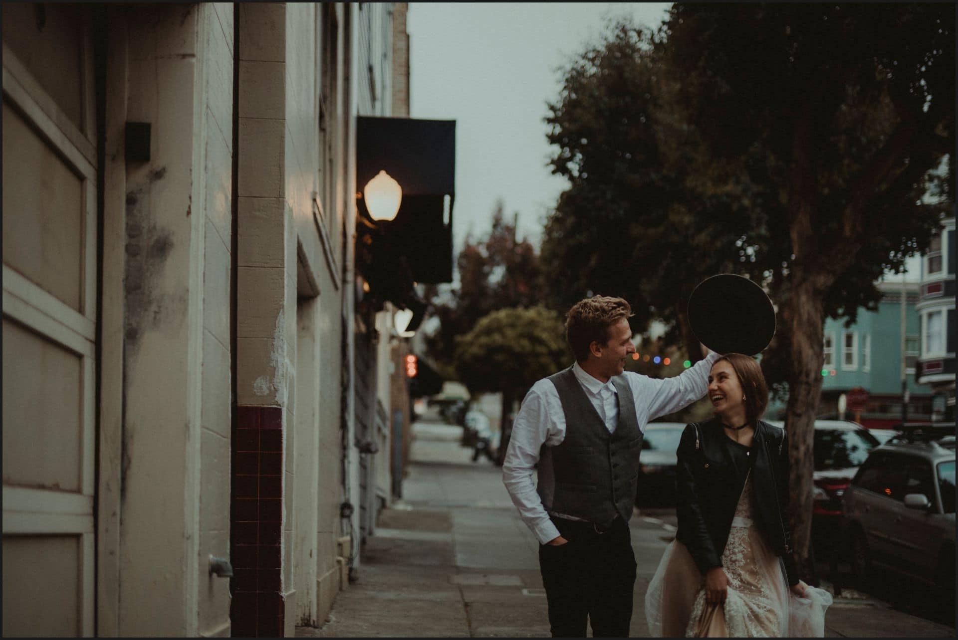 san francisco, california, elopement wedding, hat, bride