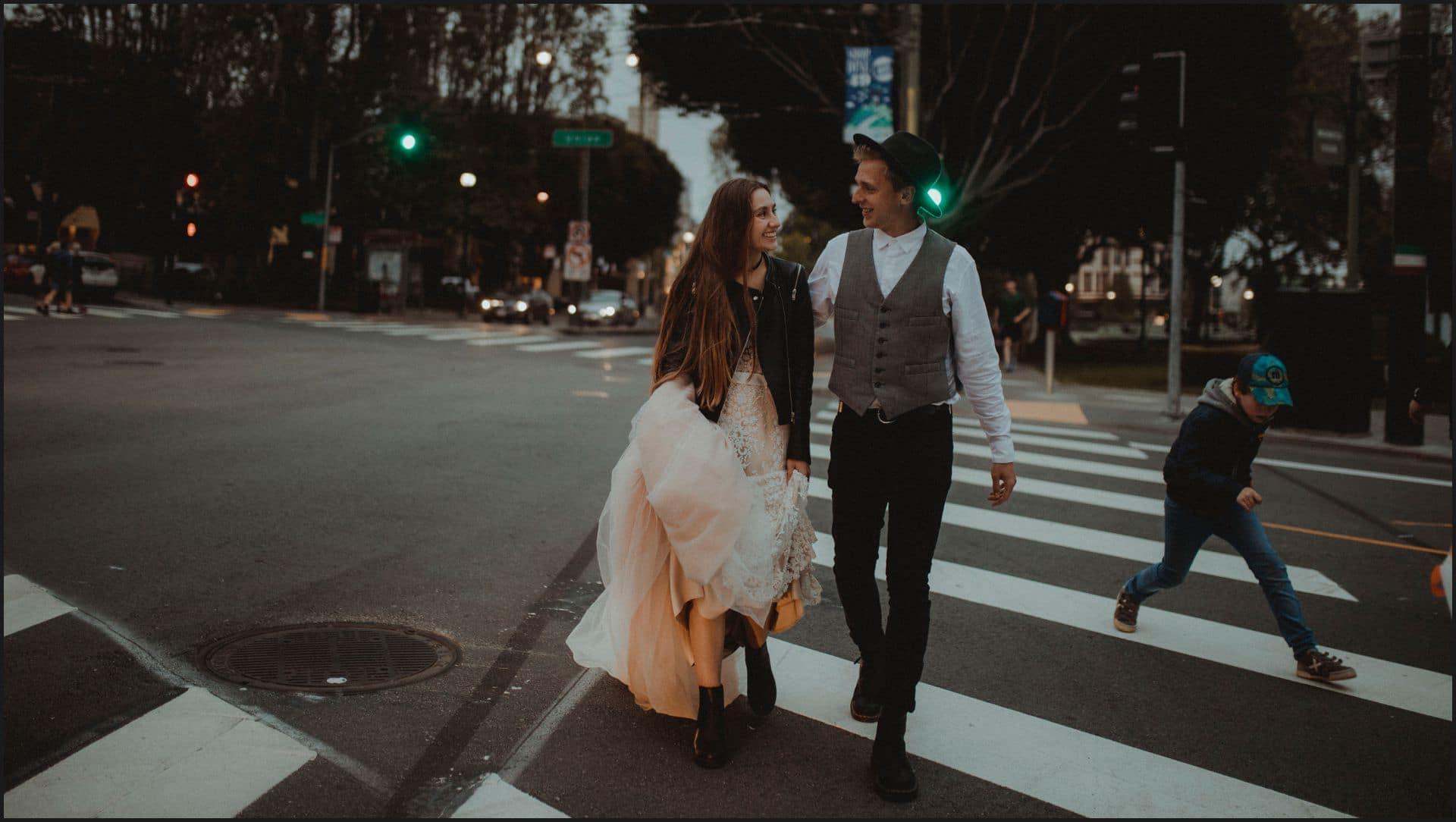 san francisco, california, elopement wedding, road, columbus street, bride, groom