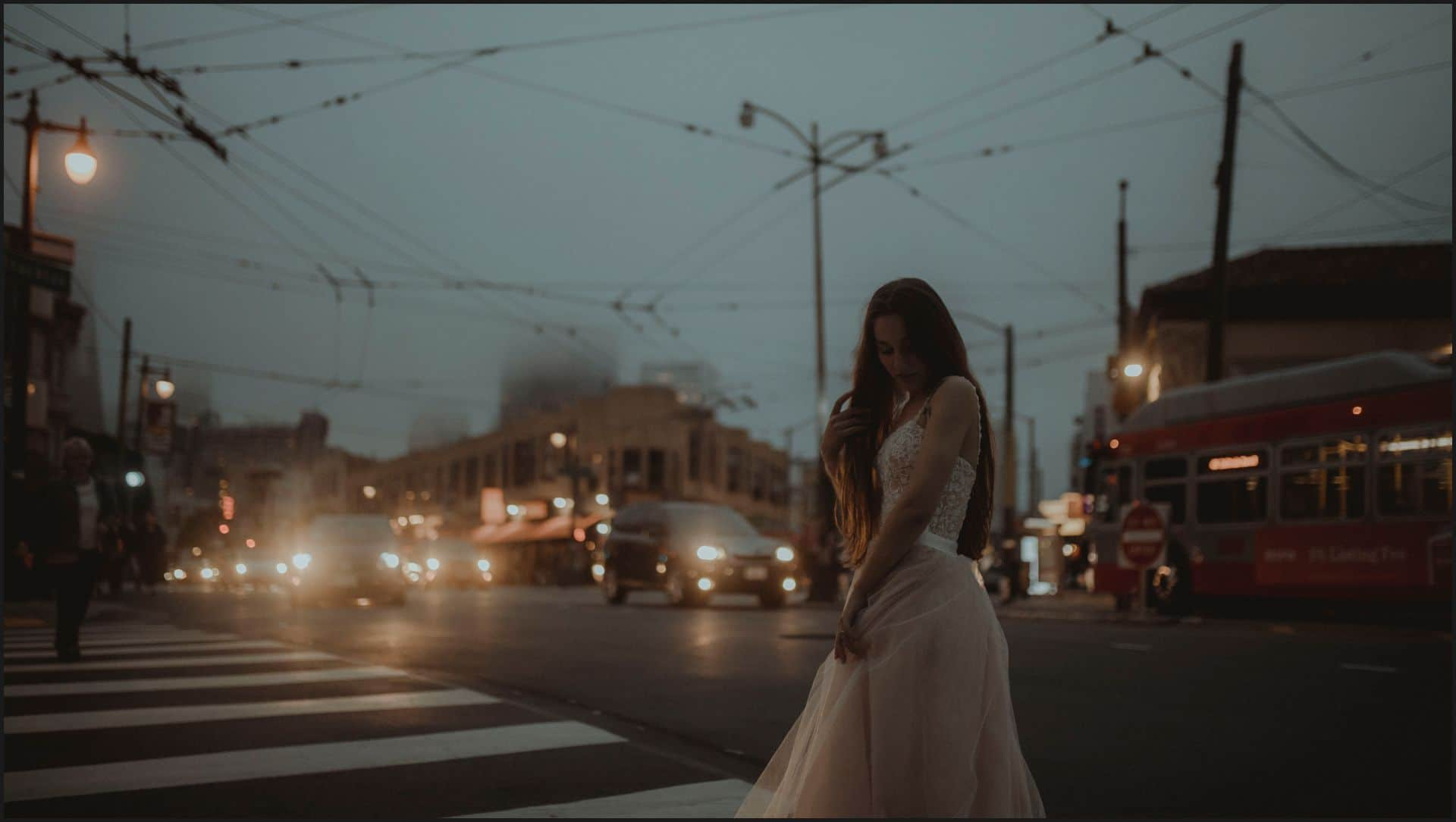 bride, road, san francisco, california, elopement wedding