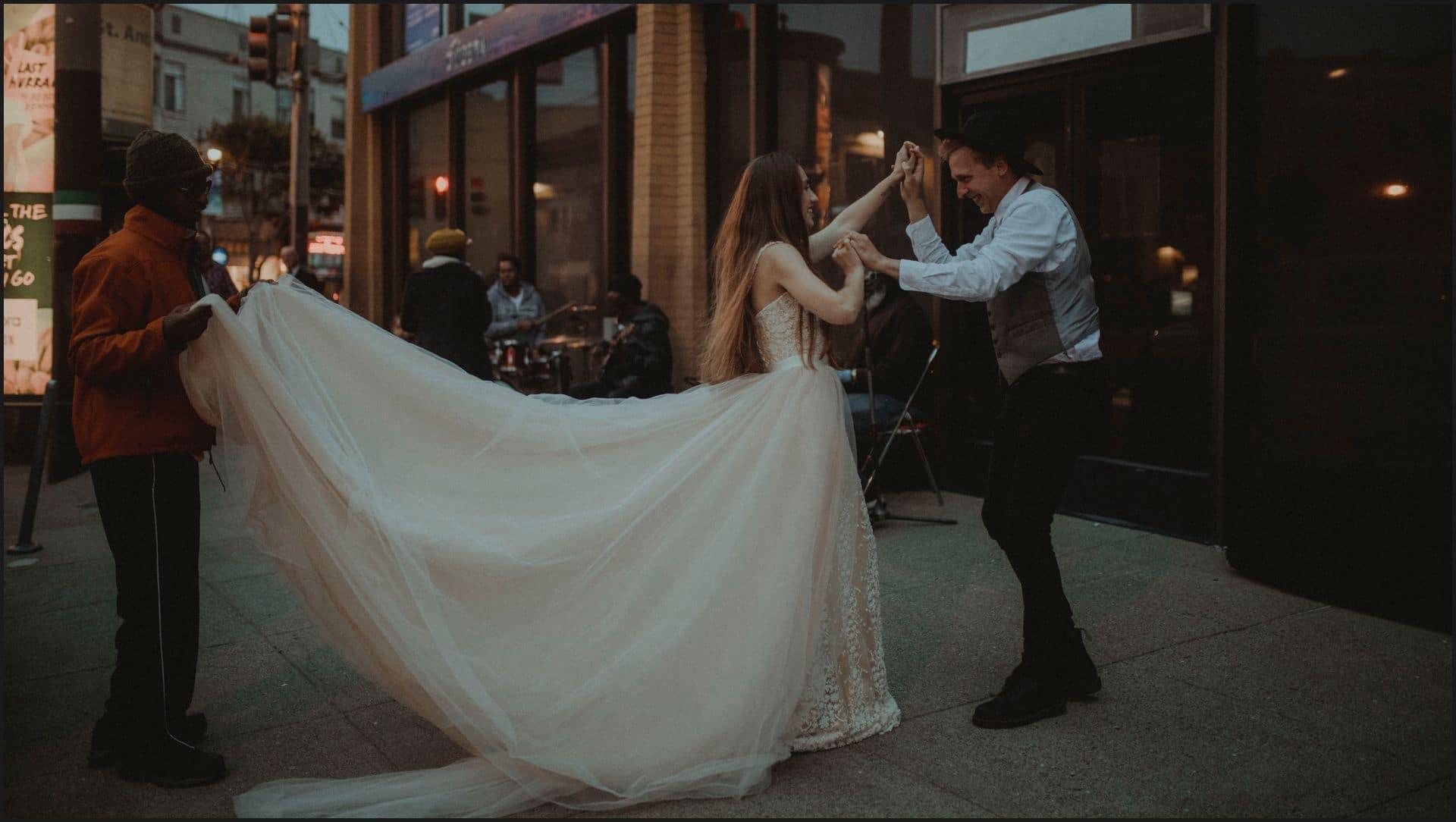 san francisco, california, elopement wedding, dancing, groom, bride