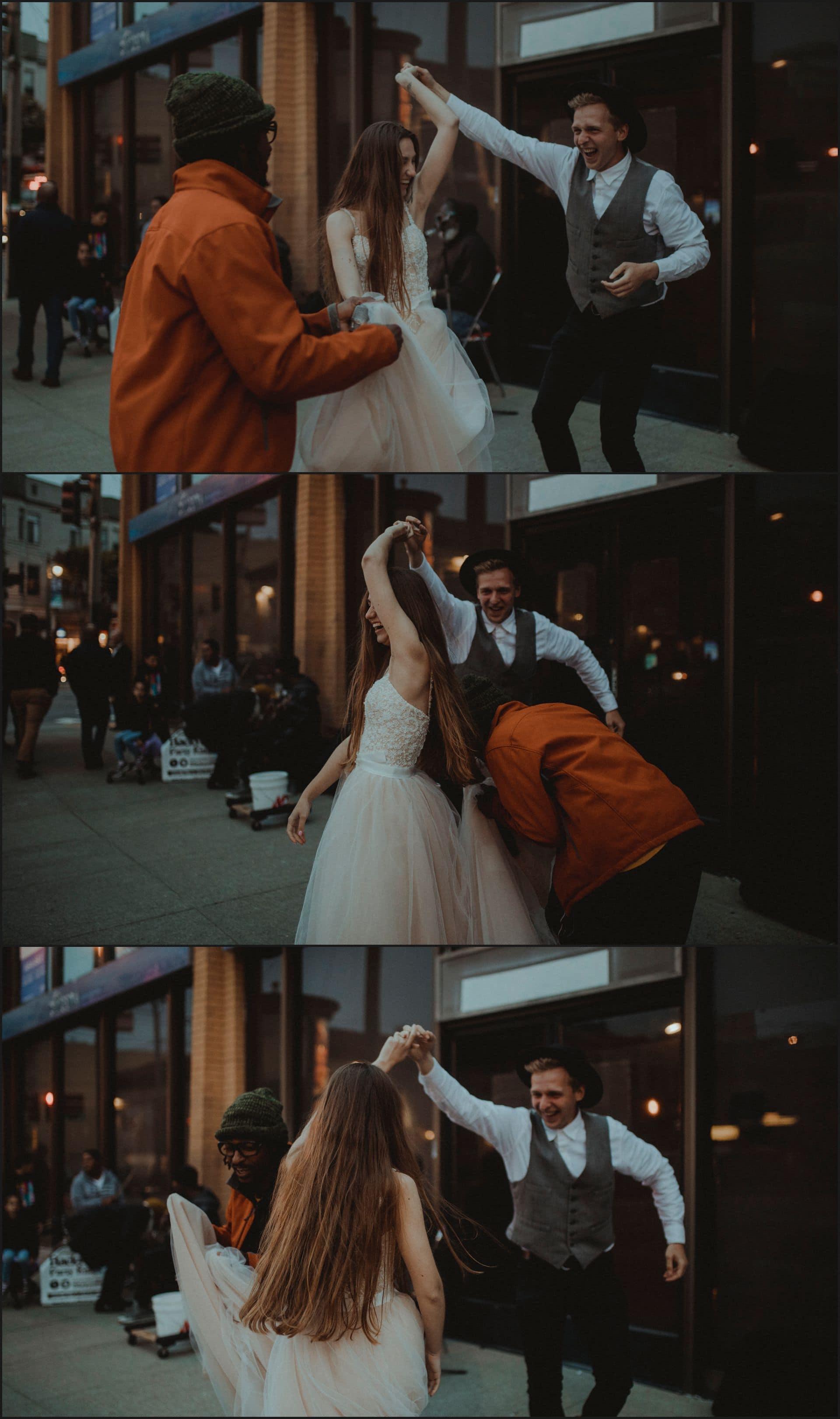 san francisco, california, elopement wedding, funny, bride, groom