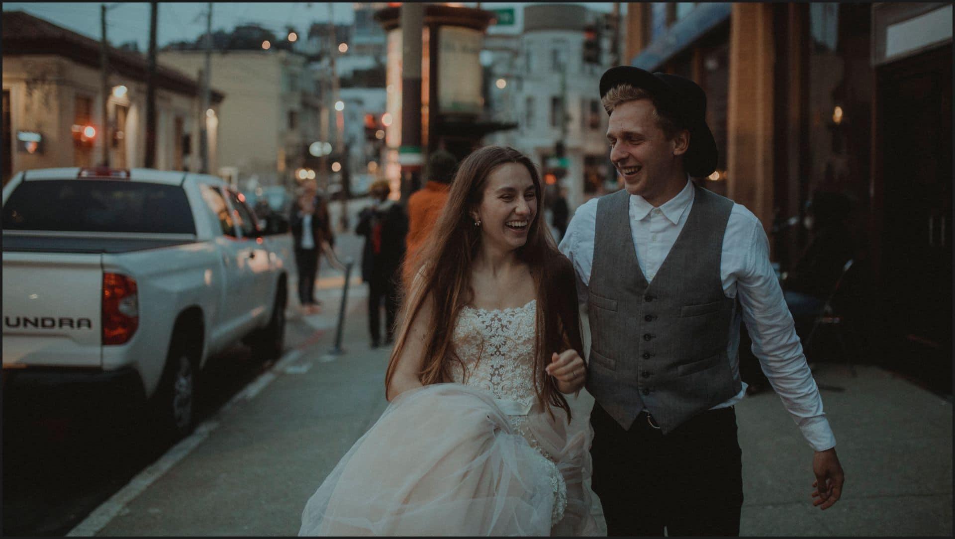 san francisco, california, elopement wedding, candid, happy, bride