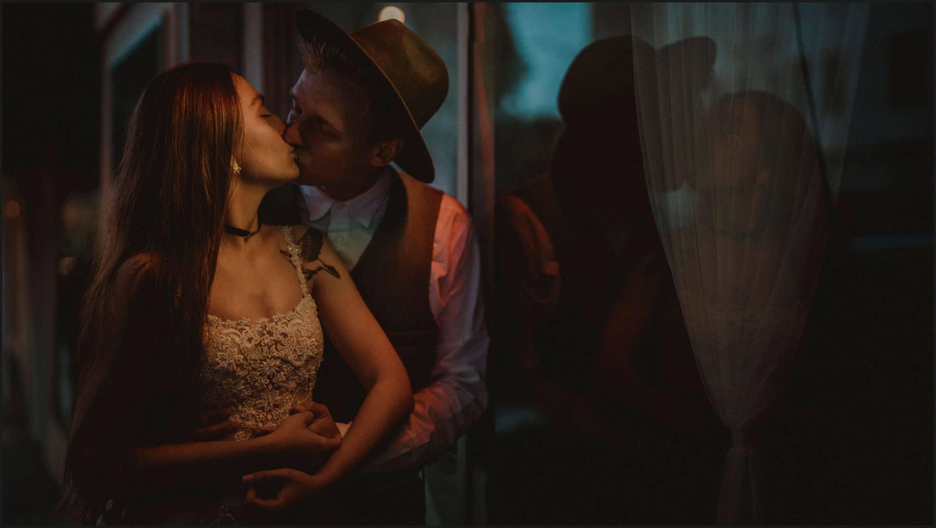 san francisco, california, elopement wedding, reflection, bride, groom, kiss
