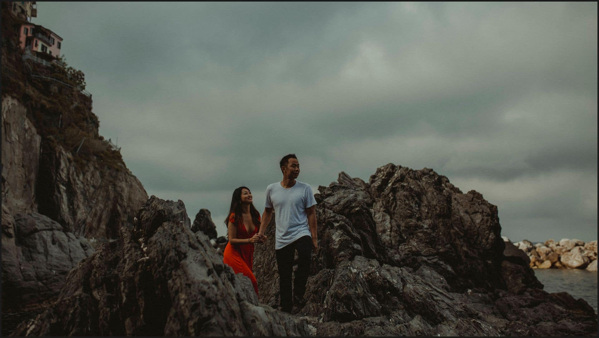 manarola, cinque terre, engagement session, rocks, clouds