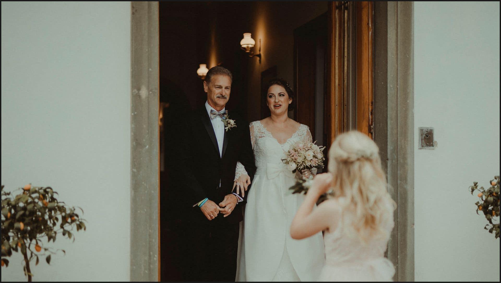 tuscany, destination wedding, chianti, bride, father of the bride, ceremony