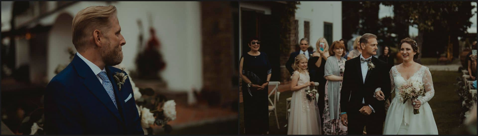 tuscany, destination wedding, chianti, walking the isle, bride, groom