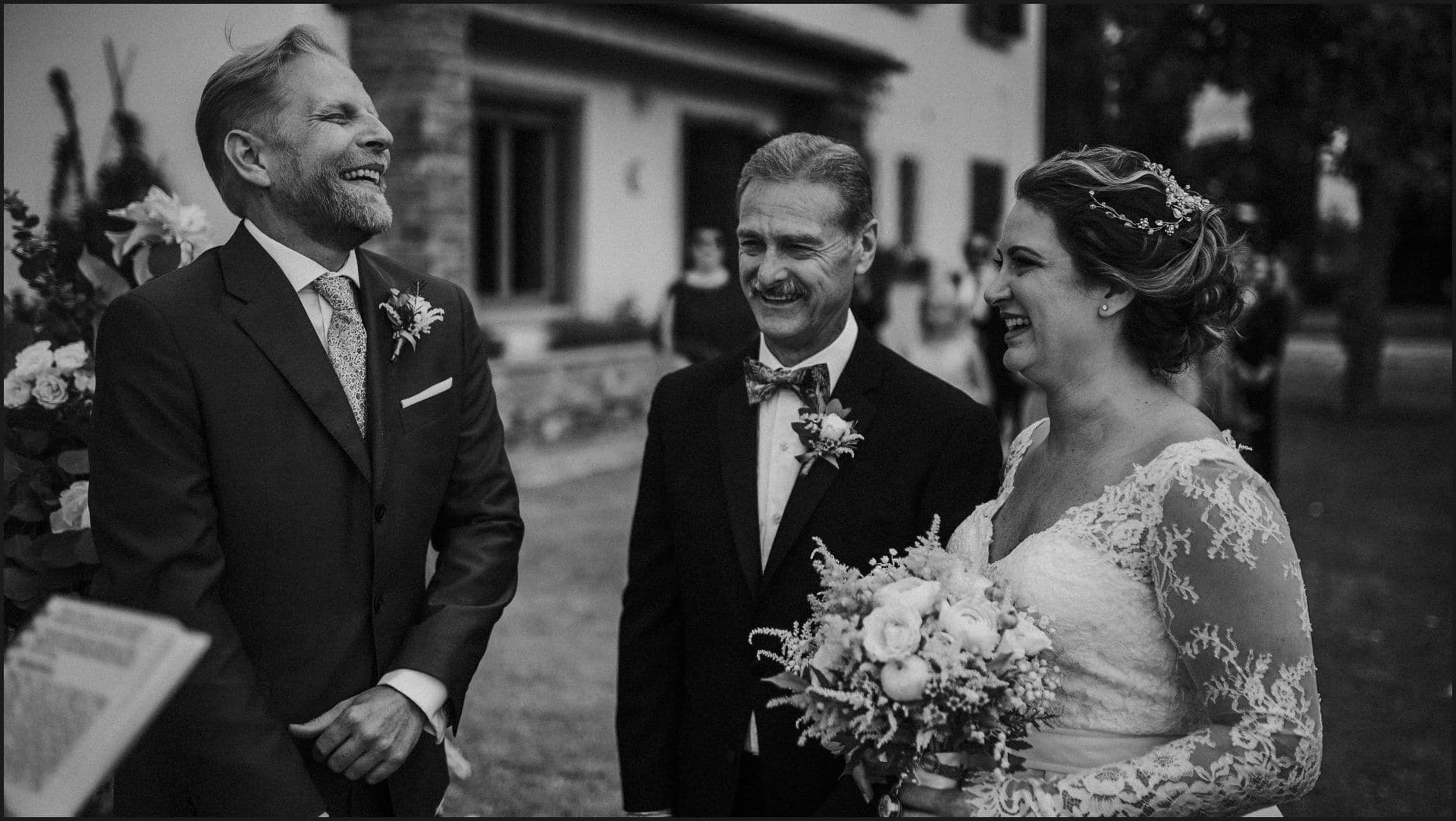 tuscany, destination wedding, chianti, black and white, bride, groom, father of the bride
