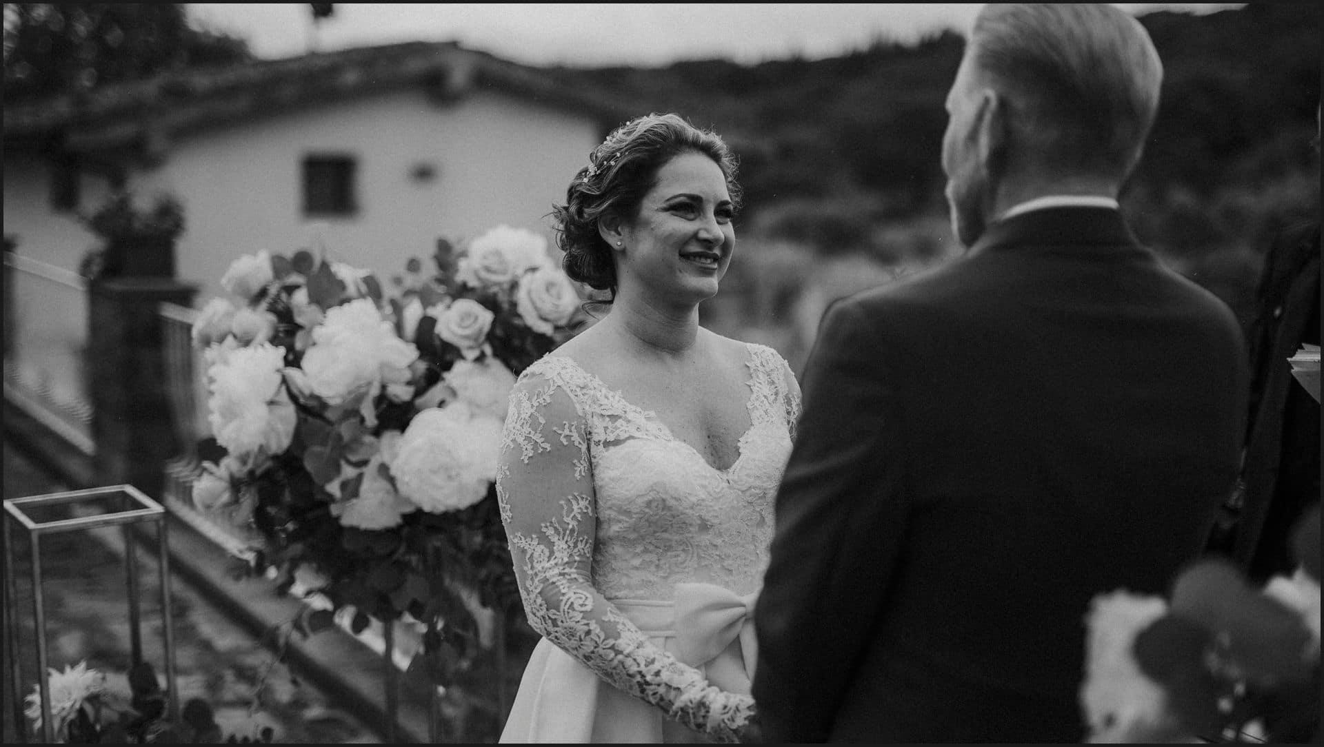 tuscany, destination wedding, chianti, wedding ceremony, black and white, bride, groom