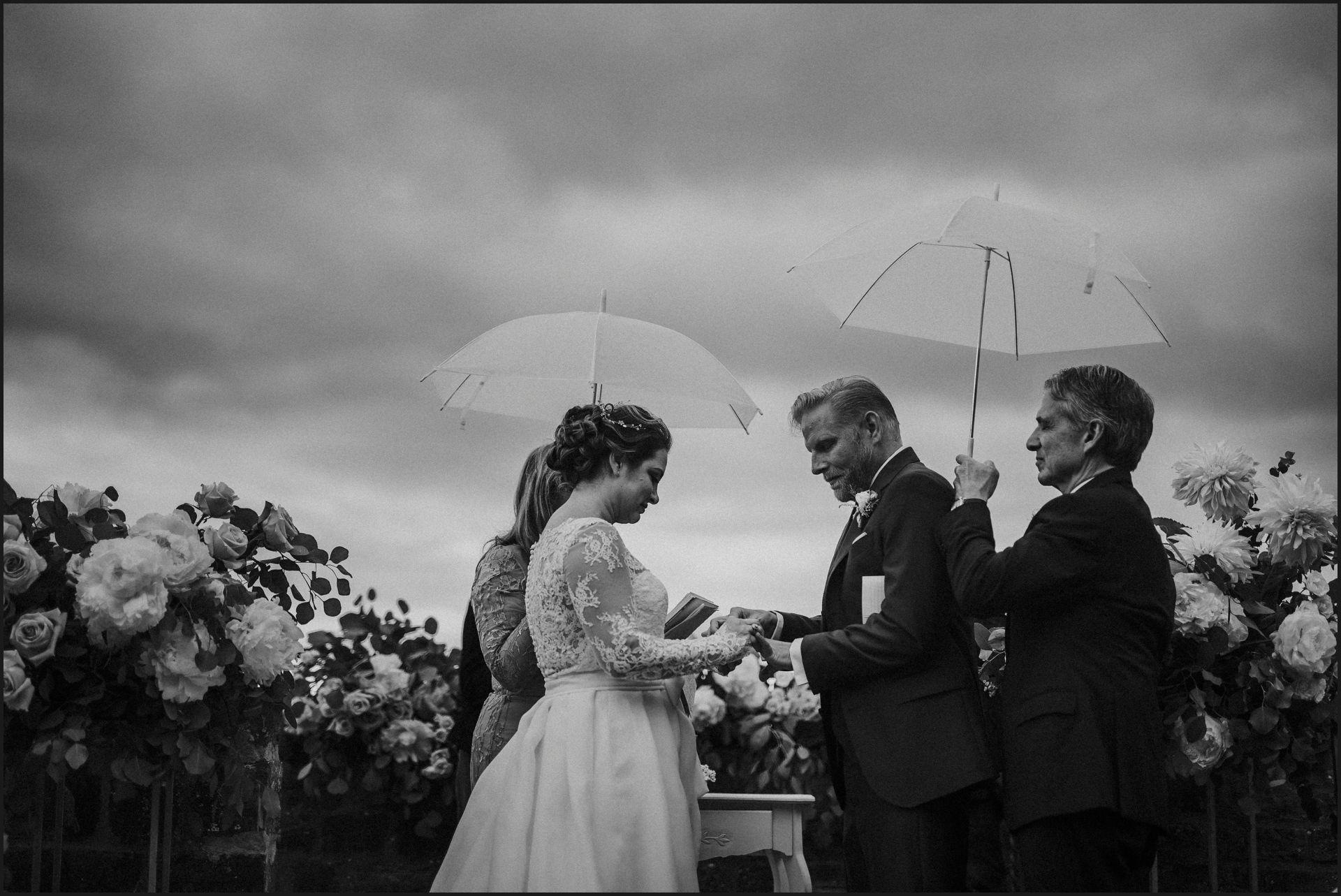 tuscany, destination wedding, chianti, wedding ceremony, bride, groom, rings, black and white