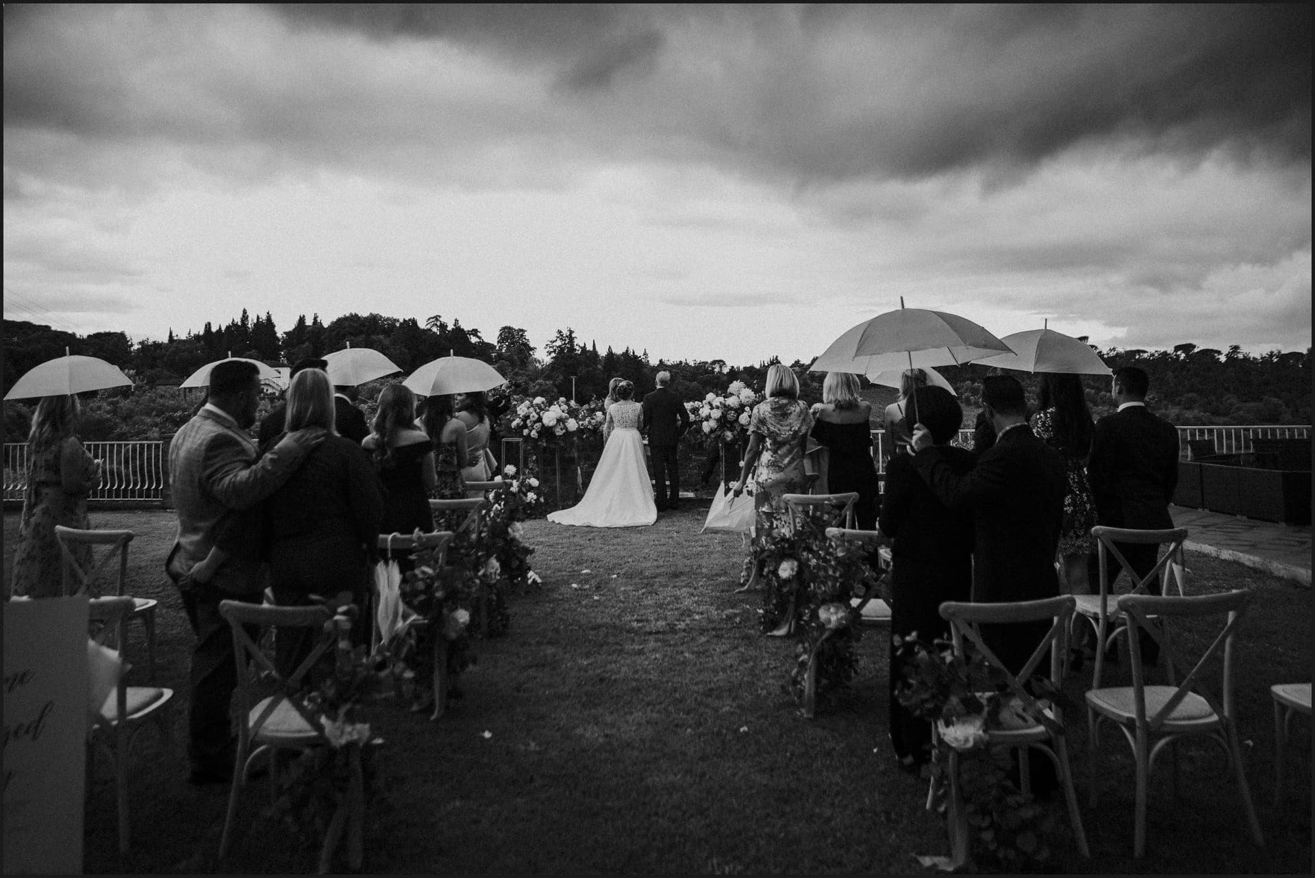 tuscany, destination wedding, chianti, wedding ceremony, bride, groom, black and white