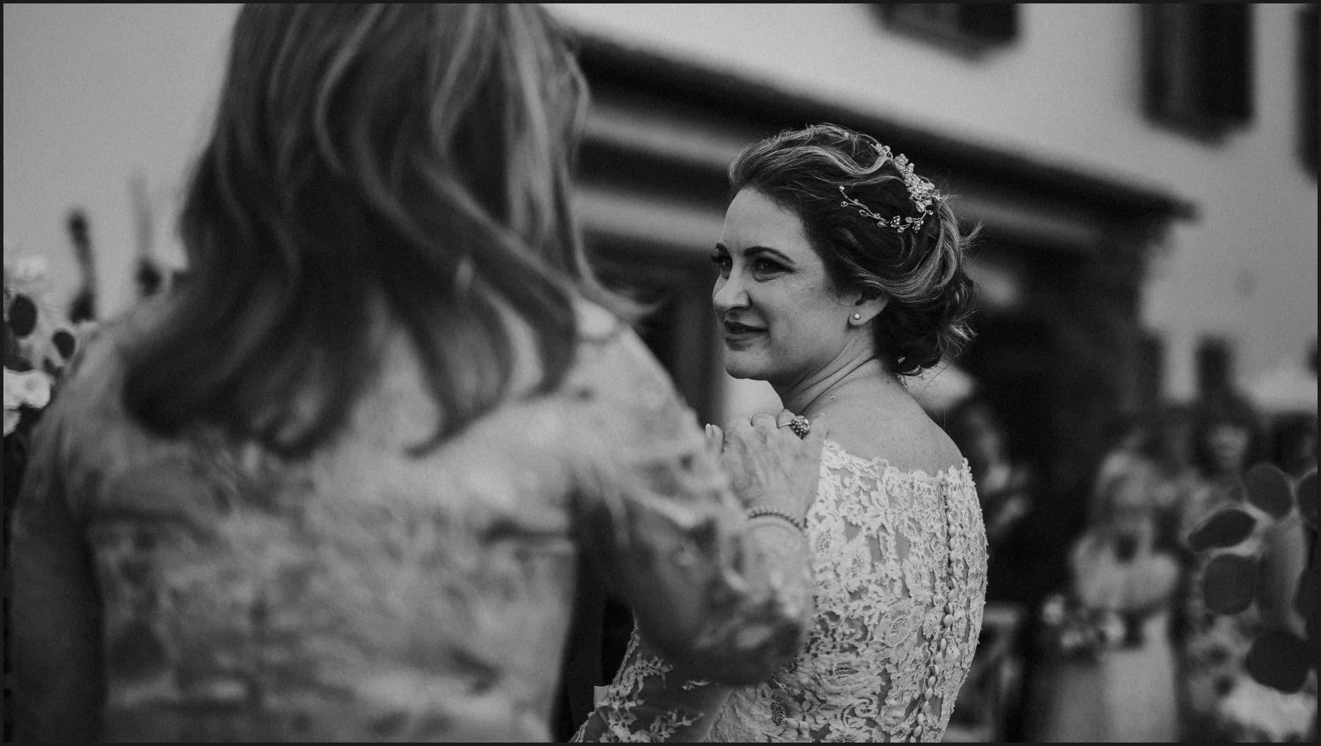 tuscany, destination wedding, chianti, wedding ceremony, bride, black and white