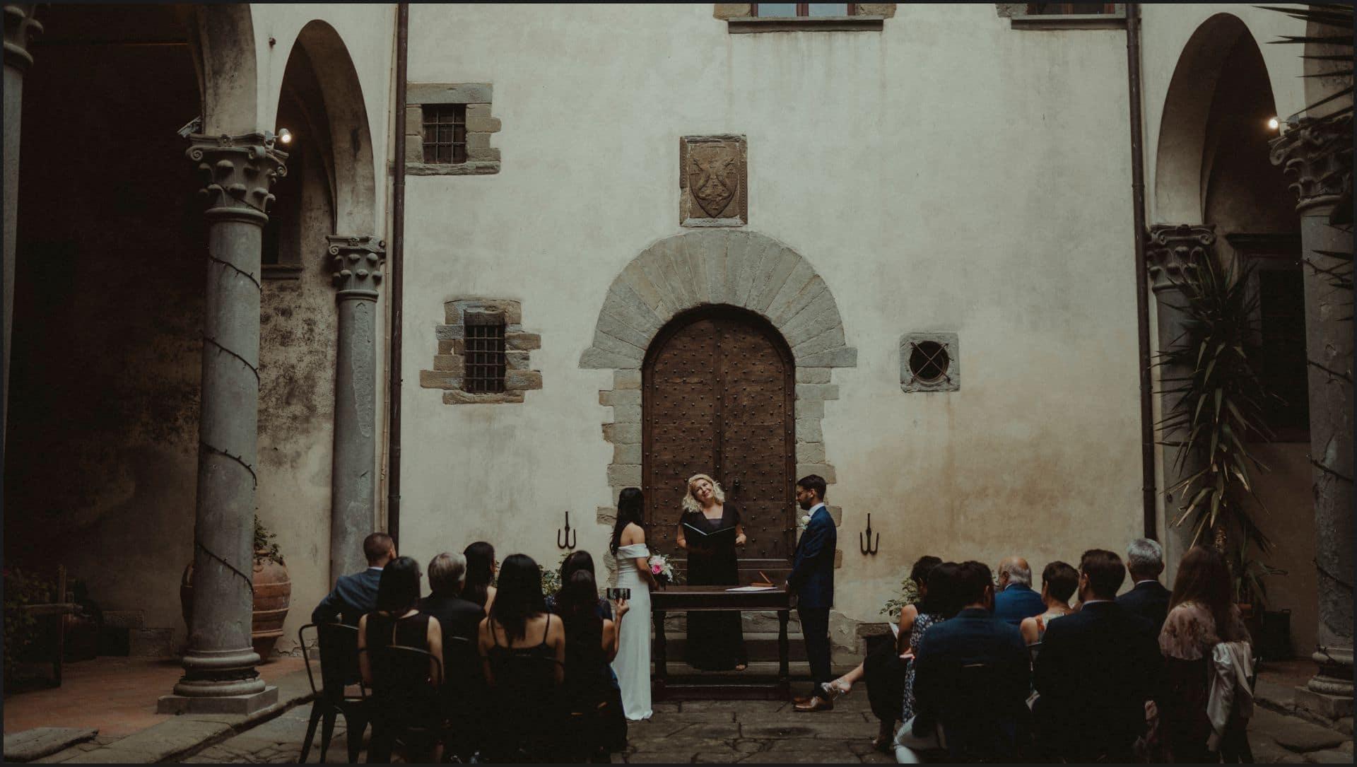 destination wedding, castello del trebbio, tuscany, ceremony, bride and groom