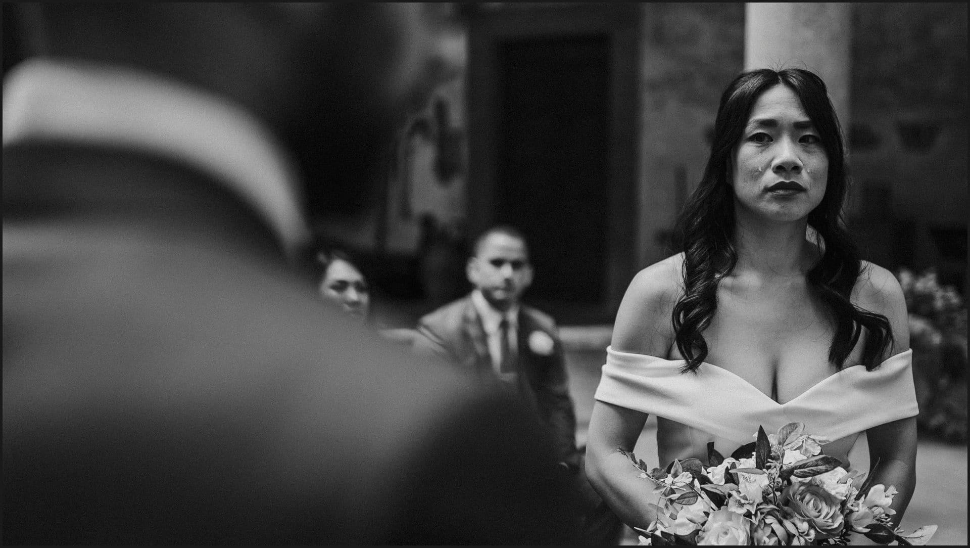 destination wedding, castello del trebbio, tuscany, bride, groom, cry