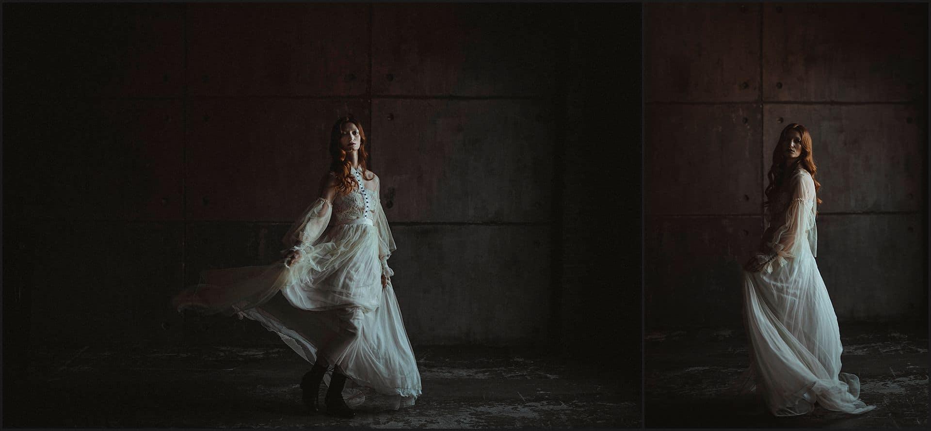 wedding gown, dress, bride portrait, dance, unconventional wedding, cross studio, milan, wedding photographer, wedding in italy