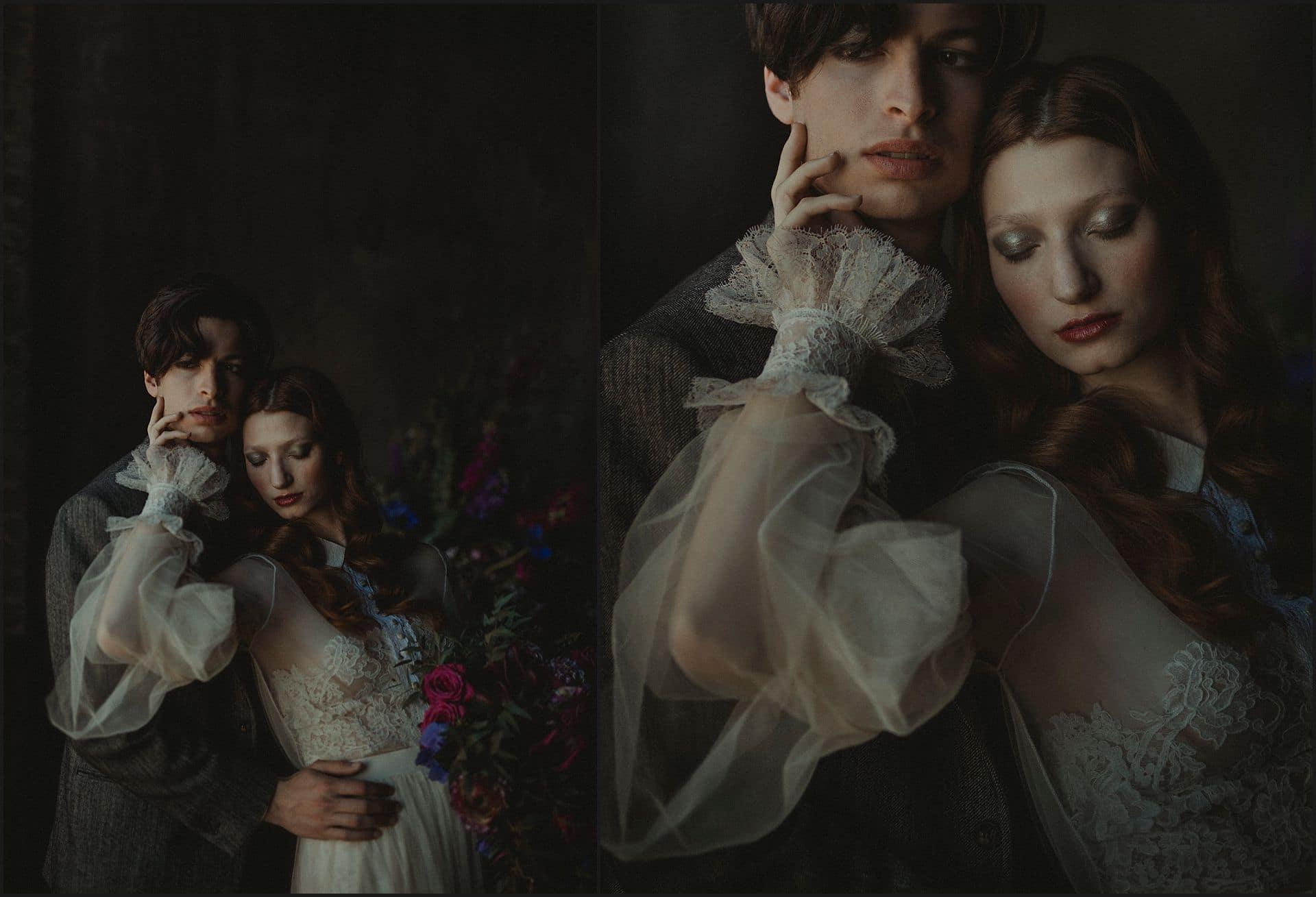 decadence, fine art wedding, wedding dress, intimate portrait, bride, groom, unconventional wedding, cross studio, milan, wedding photographer, wedding in italy
